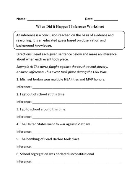 Inferences Worksheet 2 Answers