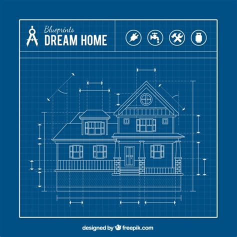 blue prints for homes house blueprint vector free