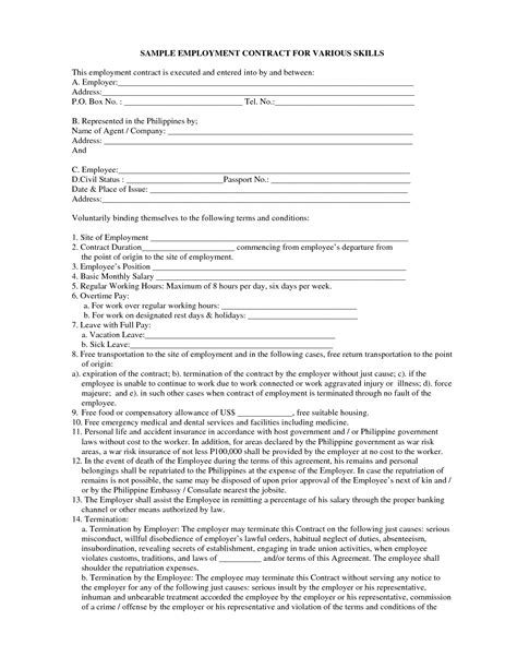 free employee contract template employment contract sle images employment contract
