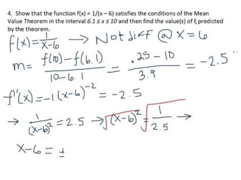 mean value theorem exle problem youtube