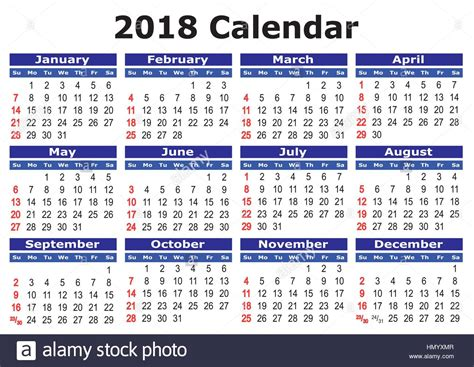 2018 Calendar Year 2018 Calendar Simple Vector Calendar For Year 2018 Stock