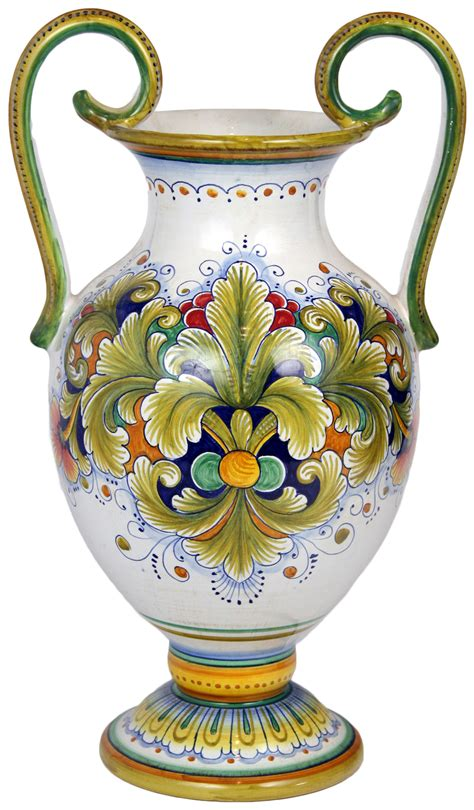 Italian Pottery Vase by Italian Style Pottery Italian Ceramic Handled Table Vase