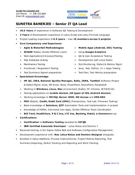 Qa Resume by Sunetra Banerjee Sr Qa Engineer Project Lead Resume