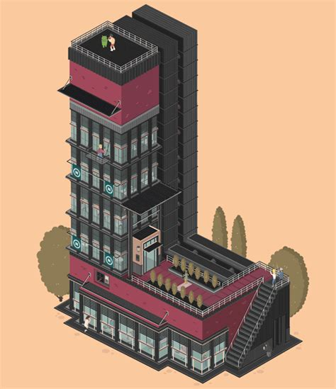 creative l whimsical animated gifs of apartment buildings shaped