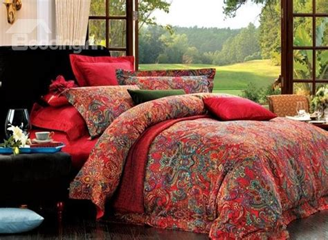 red paisley bedding top class cotton red paisley 4 piece bedding sets