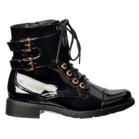 shoekandi biker ankle boot lace up and