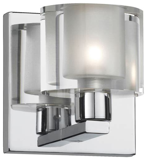 Modern Bathroom Light Fixture 1 Light Polished Chrome Vanity Fixture Modern Bathroom