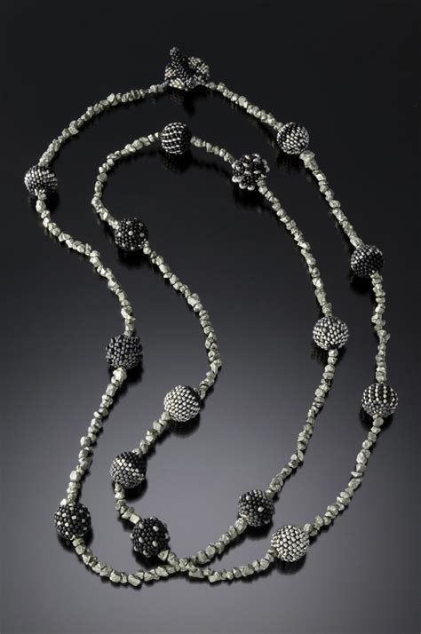 Beaded Necklace beaded necklace jet and pyrite julie powell design