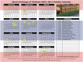 Thailand Kalender 2018 Stock Exchange Of Thailand 2017 2018 Holidays Set