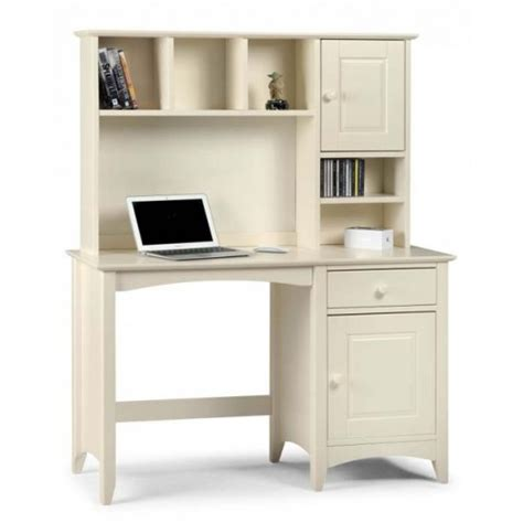 Shelving With Desk by Cameo White Pedestal Desk