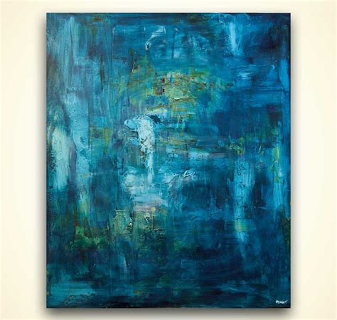 abstract art home decor painting blue textured abstract art home decor 8081