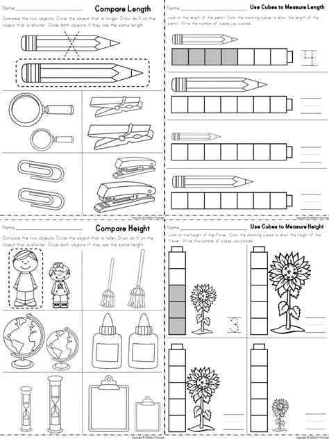 kindergarten activities measurement worksheets for measuring length and height part of a