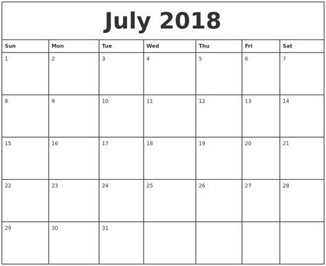 Printable Calendar By Month | july 2018 printable monthly calendar