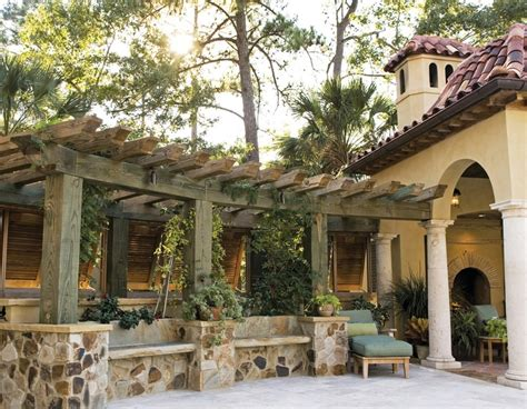 tuscan pergola tuscan style homes waterfront home mediterranean