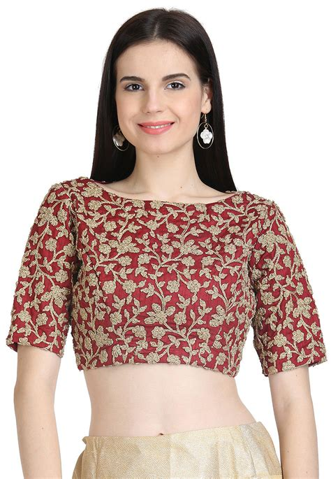 Blouse Maroon embroidered georgette blouse in maroon ukx117