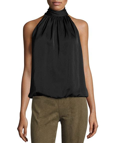 Black Sleeveless High Neck Blouse by Max Studio Sleeveless High Neck Blouse Black