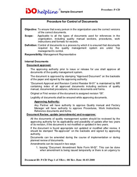 iso 9001 work template iso 9001 procedure for control of document p cd 4 2 3