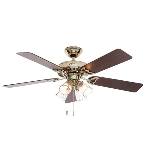 bright brass ceiling fans hunter studio series 52 in indoor bright brass ceiling