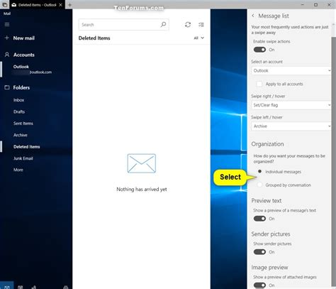 windows 10 mail app tutorial turn on or off group by conversation in windows 10 mail
