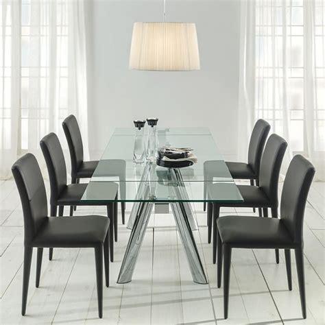 mesa de comedor extensible en cromo  cristal boston en  comedores mesas de comedor
