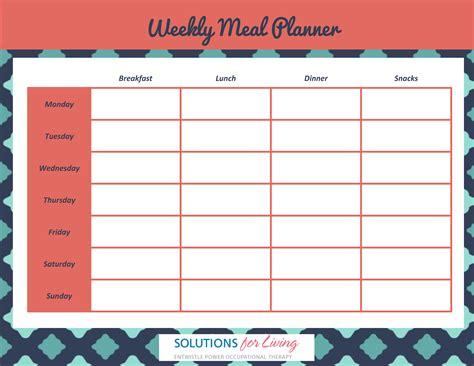 Galerry free printable weekly dinner planner