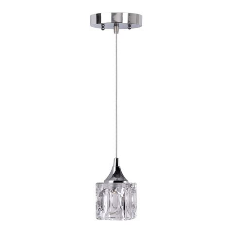 Cube Pendant Light Shop Kenroy Home Cube 4 In W Chrome Led Mini Pendant Light With Clear Shade At Lowes