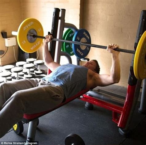 can i bench press everyday richie strahan benches two 15kg weights daily mail online