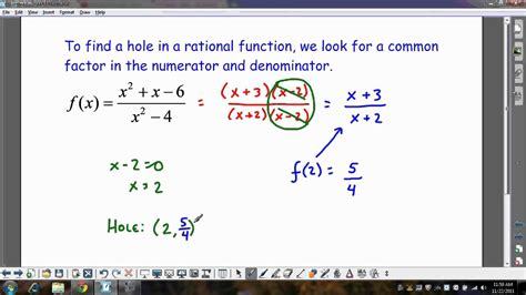 Finding The In Finding Holes In A Rational Function Wmv