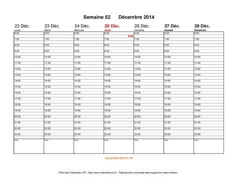 Calendrier 52 Semaines Semaine 52 2014
