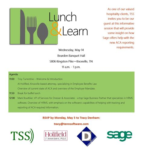 Hospitality Industry Lunch Learn Aca Reporting Tss Lunch And Learn Template