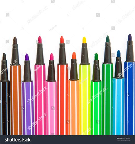 Colored Marker Pen colored striped markers pens isolated on white background