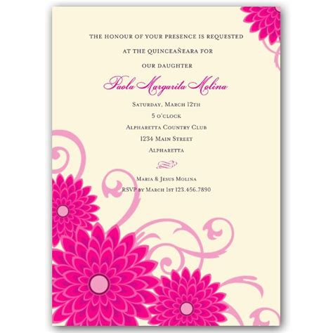 quince invitation templates dahlias pink quinceanera invitations paperstyle