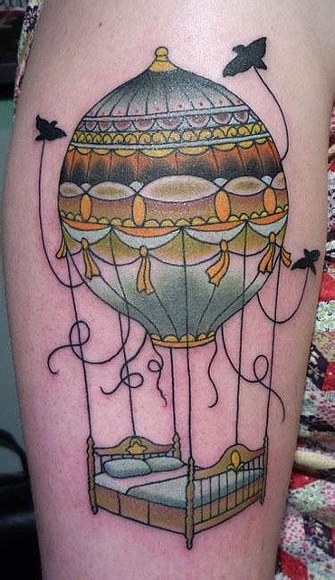 air balloon with bed bird balloon tattoos pinterest
