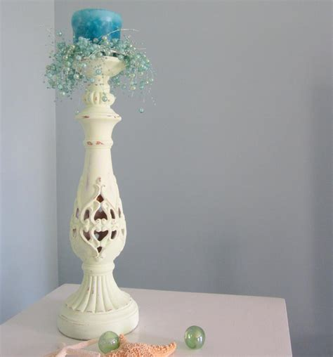 shabby chic candle sticks decor candlestick nautical cottage shabby chic