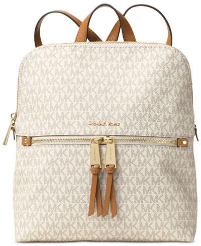 Tas Michael Kors Original Rhea Backpack Size Medium Sign Brown Nwt michael michael kors signature rhea medium slim backpack