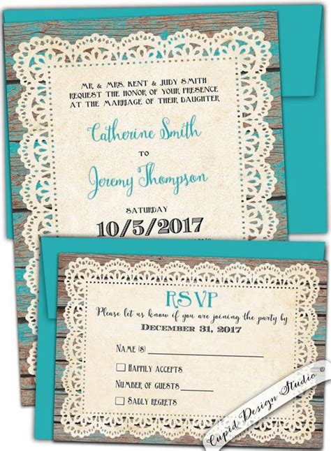 Rustic Teal Wedding Invitations