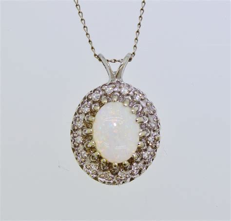 white opal necklace vintage 14k white gold opal pendant necklace ebay