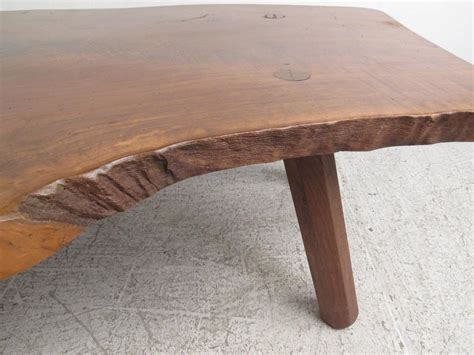 vintage rustic tree slab free edge coffee table for sale