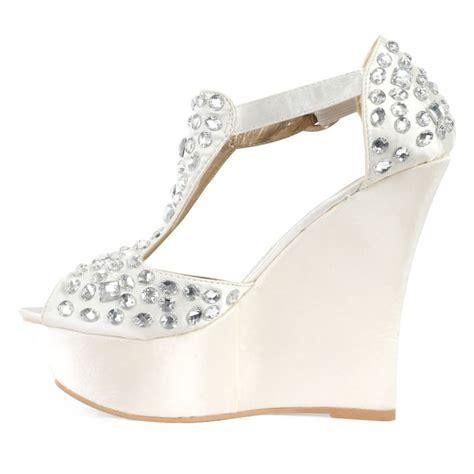 white platform sandals wedding details about new womens ivory satin diamante