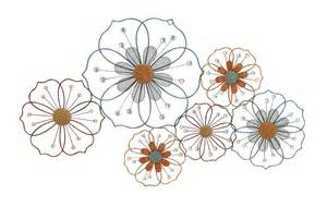 large flower silhouettes floral metal wall