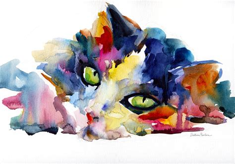 paint colorful colorful tubby cat painting painting by svetlana novikova