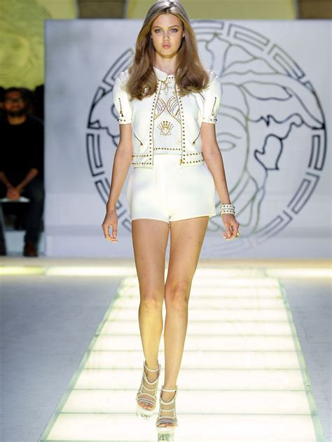 Who Wore Versace Best The Catwalk Model Or Schiffer by Versace Fashion Runway Show With Beautiful Versace Models