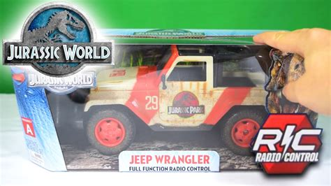 jurassic world jeep toy jurassic world 174 rc jeep wrangler jada toys 174 unboxing