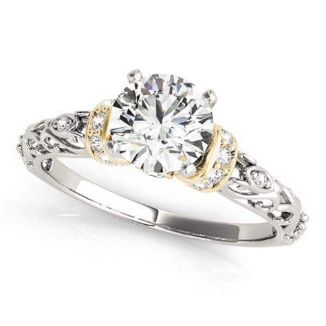 antique style engagement ring 18k two tone gold 0 87ct