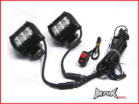 motorcycle universal 18w cree led spot driving lights complete
