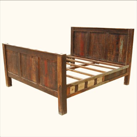 Wooden Headboard And Footboard reclaimed wood rustic distressed california king bed