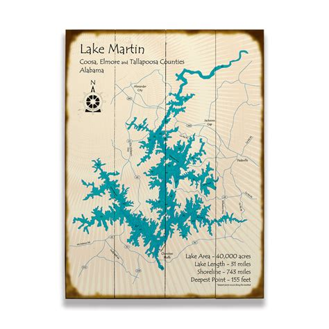 lake martin alabama map sign  wood signs
