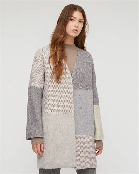 Patchwork Coat - textured knit patchwork coat jigsaw