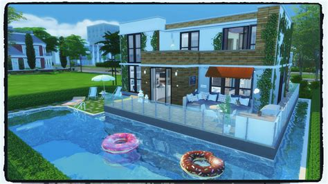 Sims 4   Building on Newcrest Modern House with Pool
