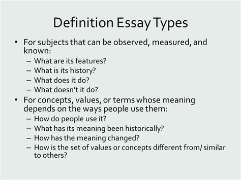 Essay Types Definition by Definition Ppt